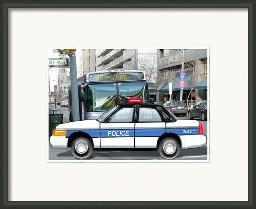Proud Police Car In The City  Framed Print By Elaine Plesser