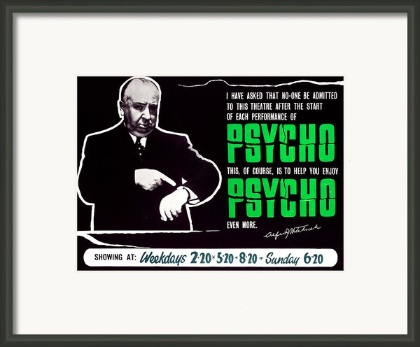 Psycho, Director Alfred Hitchcock Framed Print By Everett