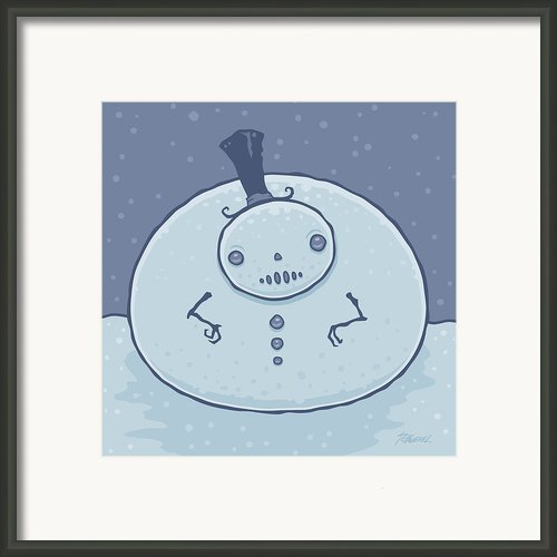 Pudgy Snowman Framed Print By John Schwegel