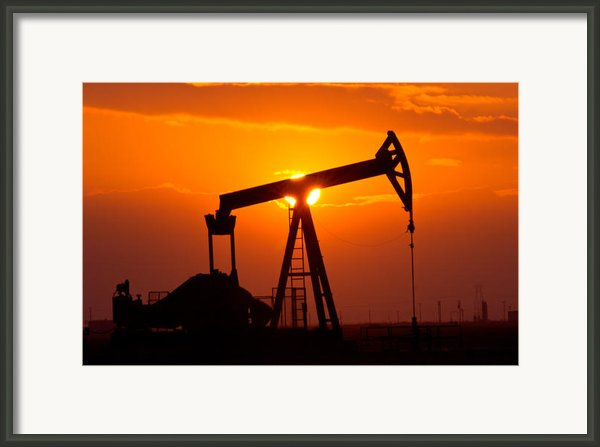 Pumping Oil Rig At Sunset Framed Print By Connie Cooper-edwards