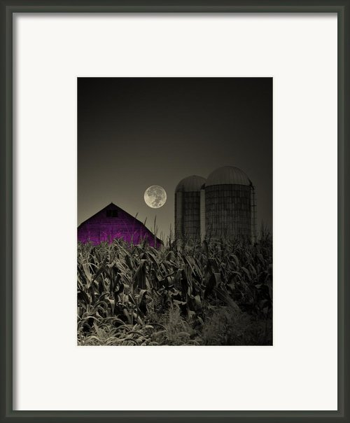 Purple Barn Moon Framed Print By Emily Stauring