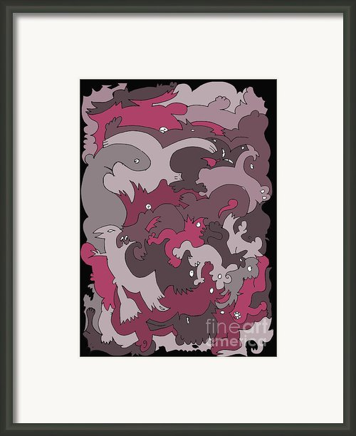 Purple Creatures Framed Print By Barbara Marcus