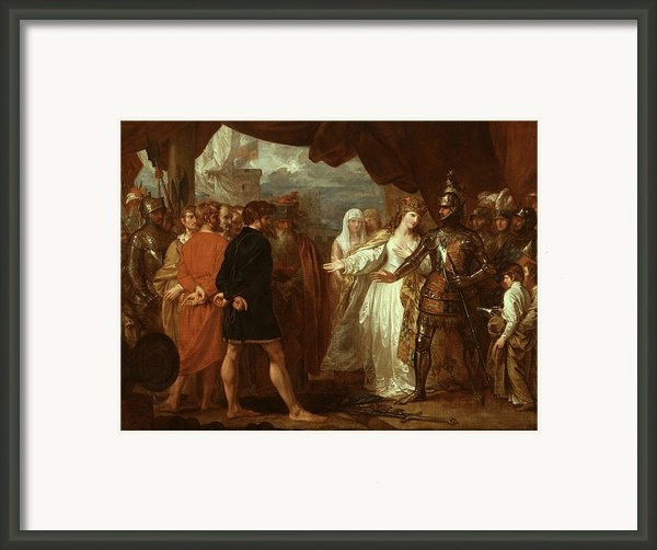 Queen Philippa Interceding For The Lives Of The Burghers Of Calais Framed Print By Benjamin West