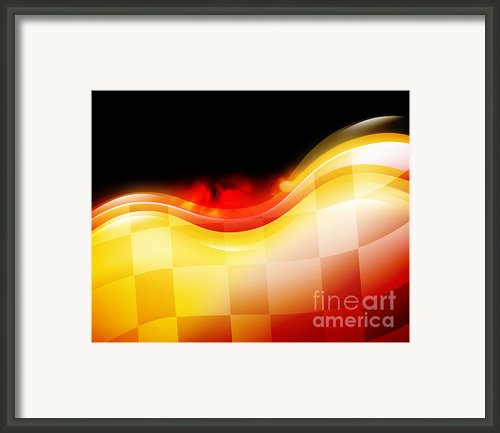 Race Car Speed Flames Background Framed Print By Angela Waye