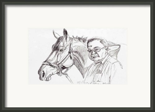 Race Horse And Owner Framed Print By Nancy Degan