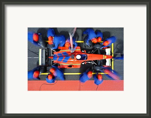 Racecar Driver At The Pit Stop Framed Print By Fuse
