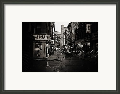 Rain - Pell Street - New York City Framed Print By Vivienne Gucwa