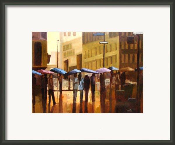 Rain In Manhattan Number Seventeen Framed Print By Tate Hamilton