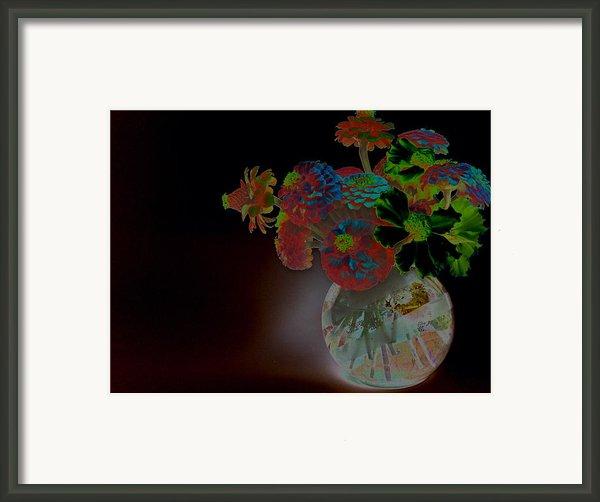 Rainbow Flowers In Glass Globe Framed Print By Padre Art