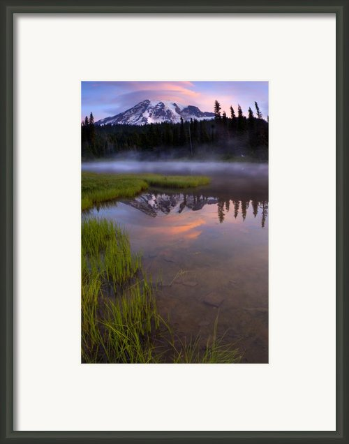 Rainier Sunrise Cap Framed Print By Mike  Dawson