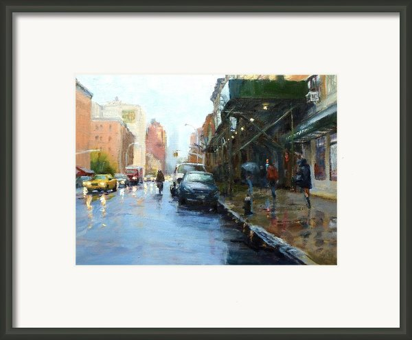 Rainy Afternoon On Amsterdam Avenue Framed Print By Peter Salwen
