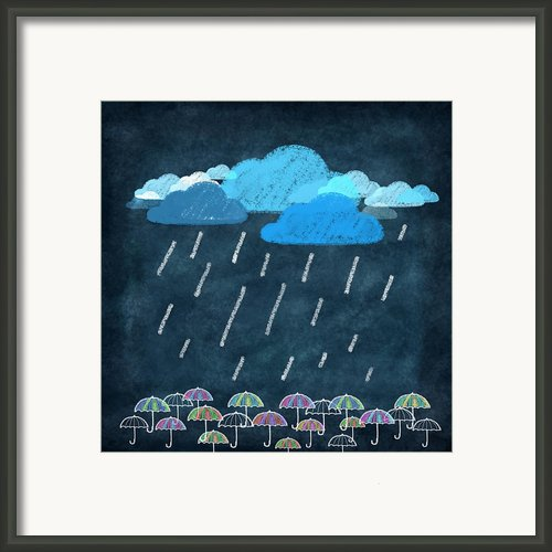 Rainy Day With Umbrella Framed Print By Setsiri Silapasuwanchai