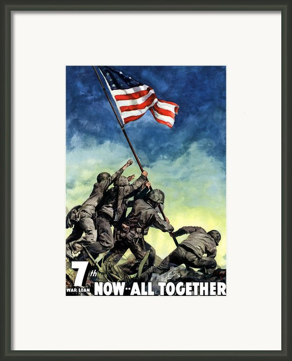 Raising The Flag On Iwo Jima Framed Print By War Is Hell Store