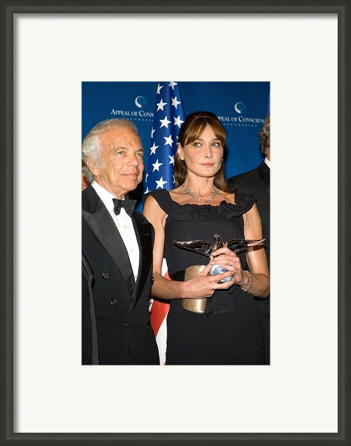 Ralph Lauren, Carla Bruni-sarkozy Framed Print By Everett