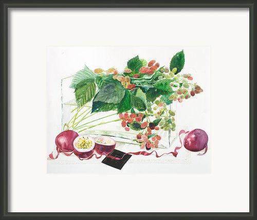 Raspberries Bushes In A Vase With Passion Fruit Framed Print By Ayako Tsuge