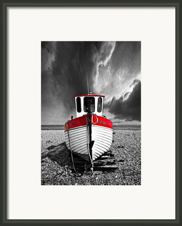 Rebecca Wearing Just Red Framed Print By Meirion Matthias
