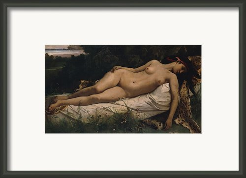 Recumbent Nymph Framed Print By Anselm Feuerbach