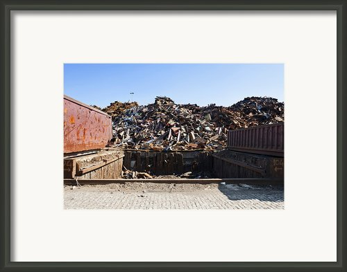 Recycle Dump Site Or Yard For Steel Framed Print By Corepics
