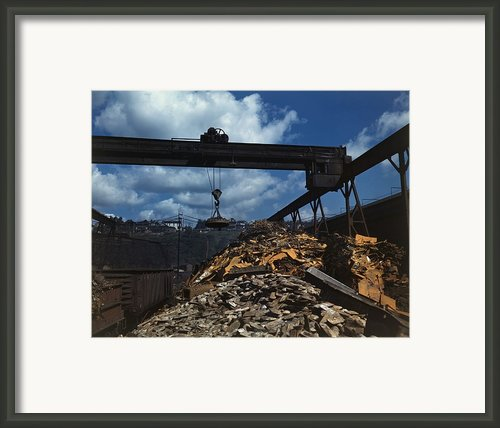 Recycling Scrap Steel During World War Framed Print By Everett