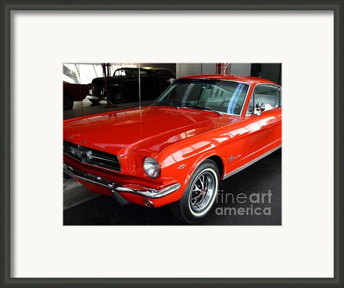 Red 1965 Ford Mustang . Front Angle Framed Print By Wingsdomain Art And Photography