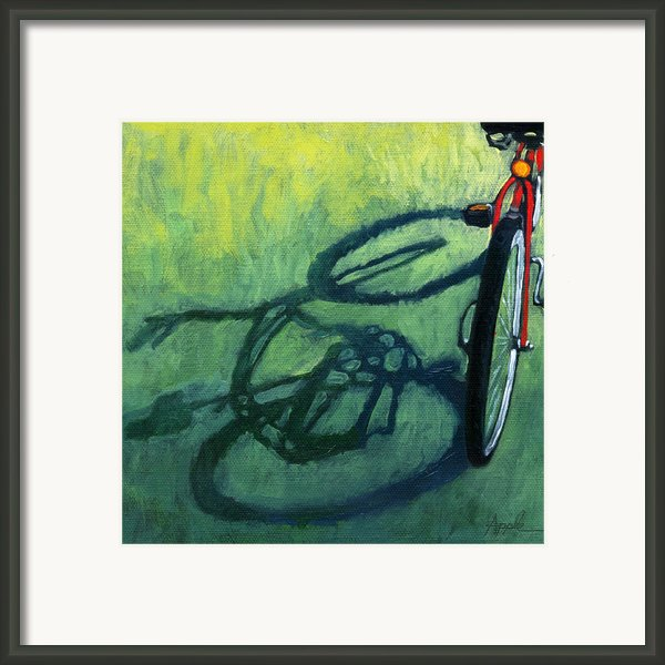 Red And Green - Bike Art Framed Print By Linda Apple