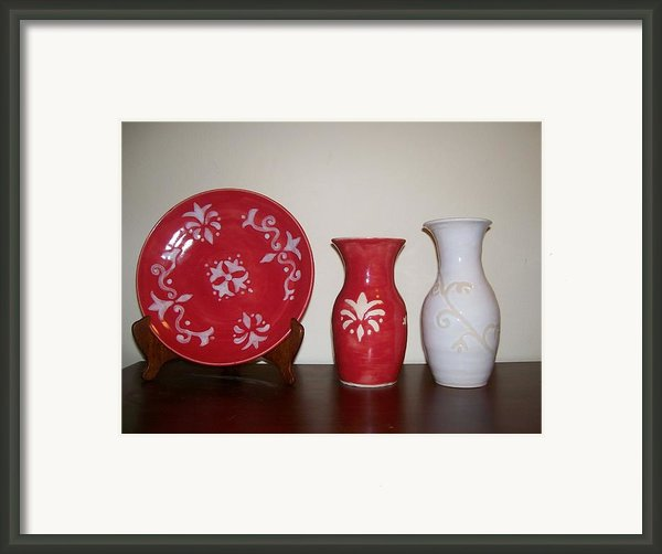Red And White Framed Print By Monika Hood