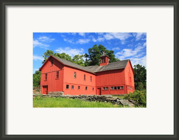Red Barn At Bryant Homestead Framed Print By John Burk