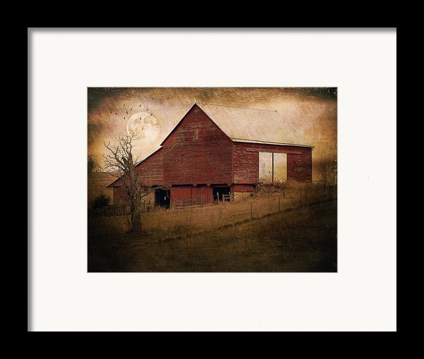 Red Barn In The Evening Framed Print By Kathy Jennings
