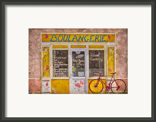 Red Bike At The Boulangerie Framed Print By Debra And Dave Vanderlaan