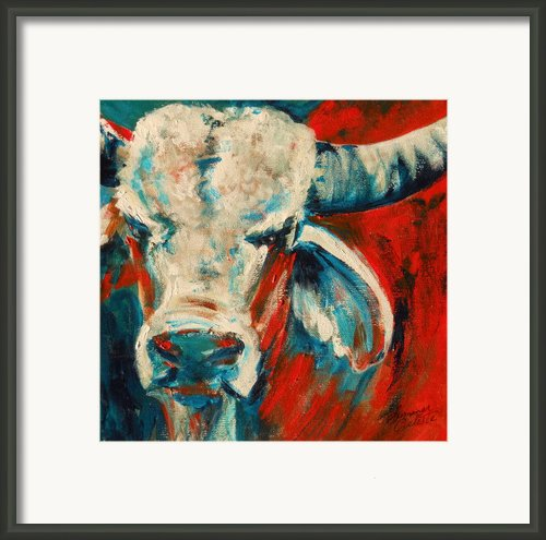 Red-blue Braham Bull Framed Print By Summer Celeste