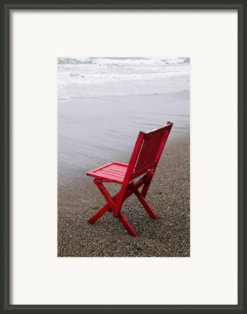 Red Chair On The Beach Framed Print By Garry Gay