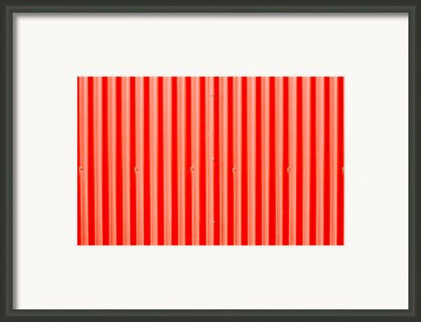 Red Corrugated Metal Framed Print By Tom Gowanlock