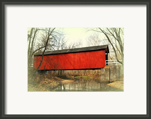 Red Covered Bridge Framed Print By Marty Koch