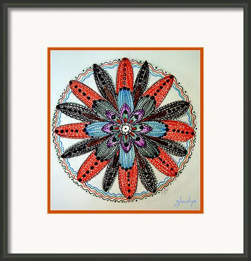 Red Flower Mandala  Framed Print By Gladys Childers