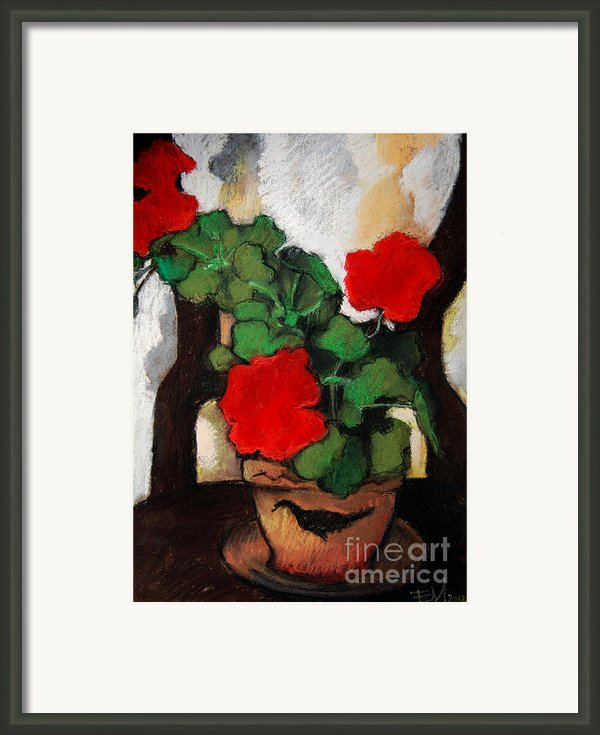 Red Geranium Framed Print By Emona Art