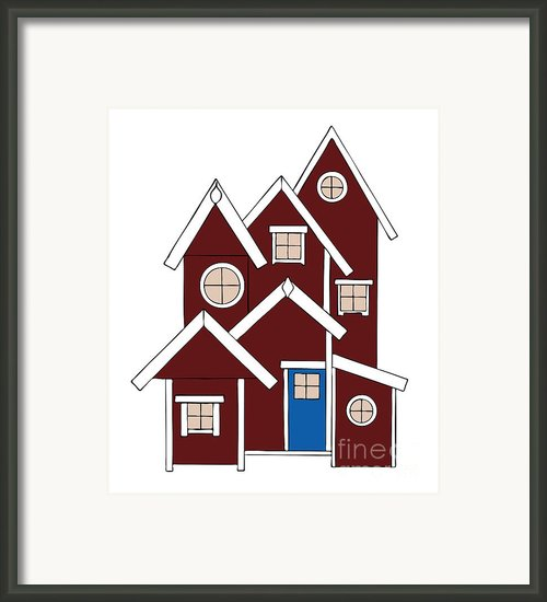 Red Houses Framed Print By Frank Tschakert