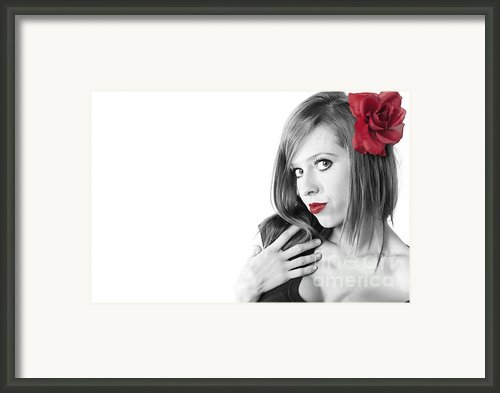 Red Lips Framed Print By Andre Babiak