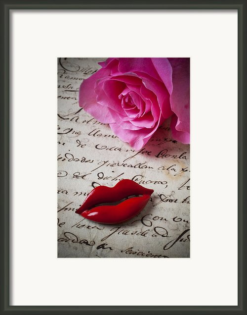 Red Lips On Letter Framed Print By Garry Gay