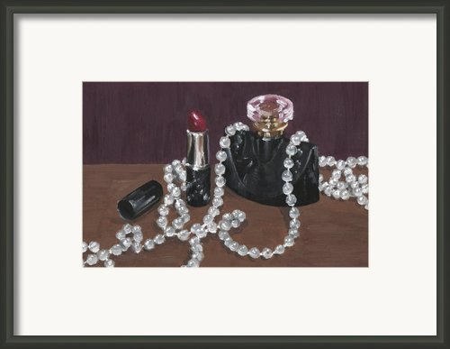Red Lipstick With Perfume Bottle Framed Print By Lucy Hayward