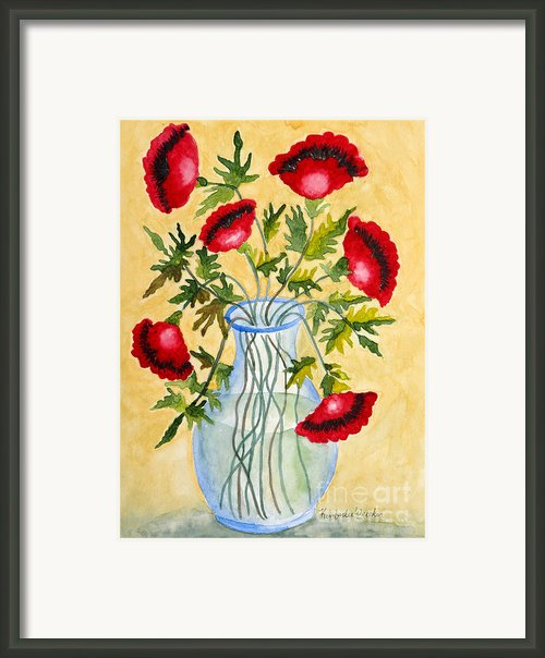 Red Poppies In A Vase Framed Print By Kimberlee Weisker