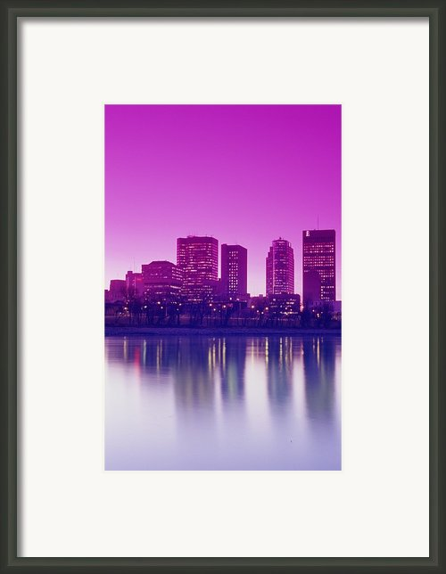 Red River And Downtown Winnipeg Framed Print By Dave Reede