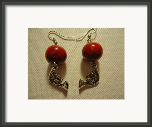 Red Rocker French Horn Earrings Framed Print By Jenna Green