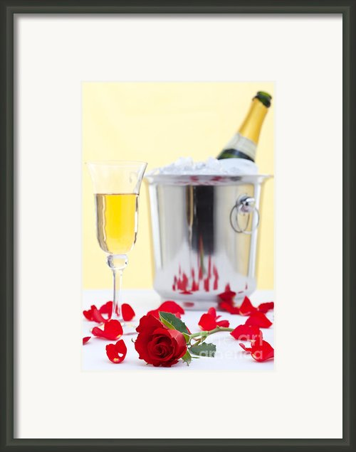 Red Rose And Champagne Framed Print By Richard Thomas