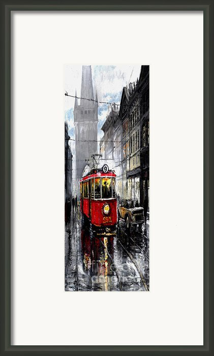 Red Tram Framed Print By Yuriy  Shevchuk