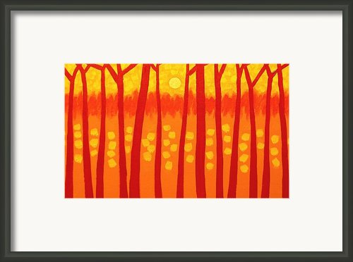 Red Trees Framed Print By John  Nolan