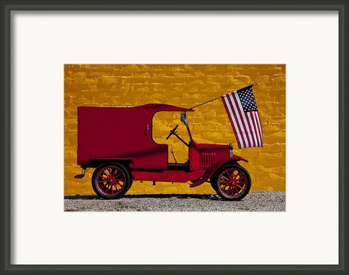 Red Truck Against Yellow Wall Framed Print By Garry Gay