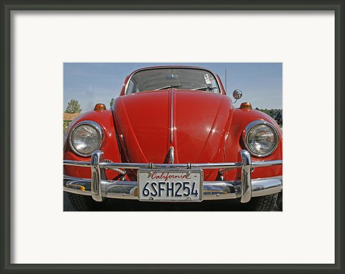 Red Volkswagen Beetle Framed Print By Georgia Fowler