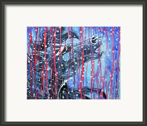 Red White And Blue Rain Framed Print By Jonelle T Mccoy
