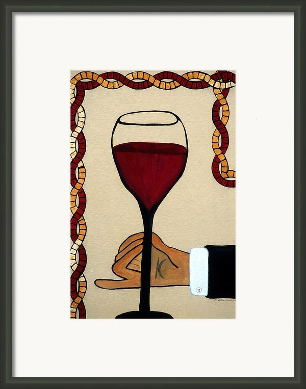 Red Wine Glass Framed Print By Cynthia Amaral
