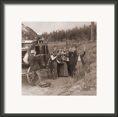 Reenactment Of A Stage Coach Robbery Framed Print By Everett